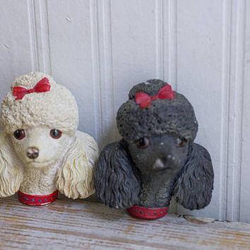 Vintage Bossons Poodle Dogs in Black and White, Plaster Dog Figurines with red hair bows from England