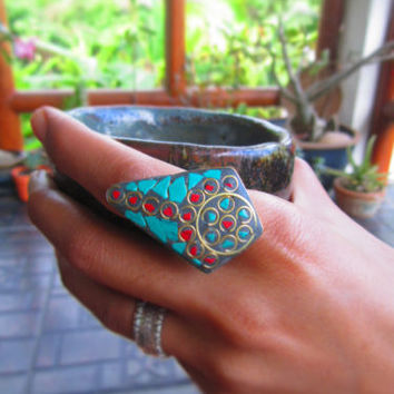 Nepalese Brass ring Howlite Sheild Cocktail Ring Party Jewelry Boho Hippie Indie | eBay