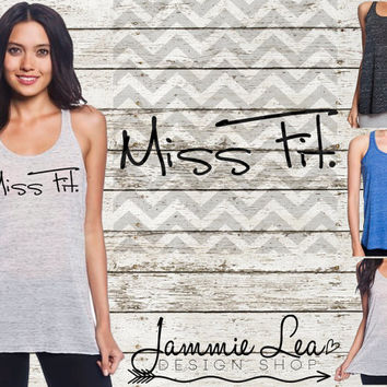 Miss Fit Workout Racerback Flowy Tank Burnout S M L XL Custom Color