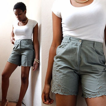 highwaisted shorts, cut out shorts, olive green, 90s boho, festival clothing, cotton shorts, 4 pocket, comfortable, normcore, small,size 4