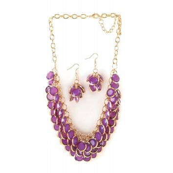 Radiant Orchid Fish Scale Necklace And Jewelry Set