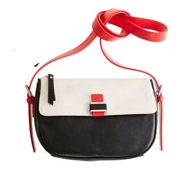 Liz Claiborne Juliet Crossbody Purse Black, Cream, & Red