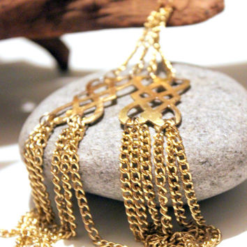 Super Long Chain Dangles Upcycled Re-Purposed Vintage Chain Dangle Earrings Golden Boho
