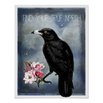 True North Crow And Magnolias Poster