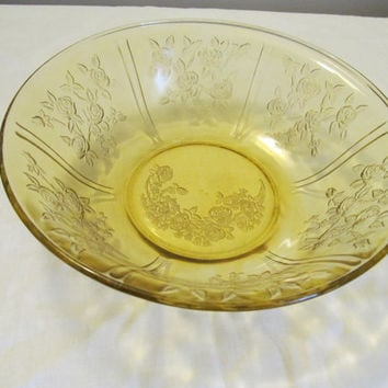Sharon Cabbage Rose bowl Federal Glass Yellow Depression Glass
