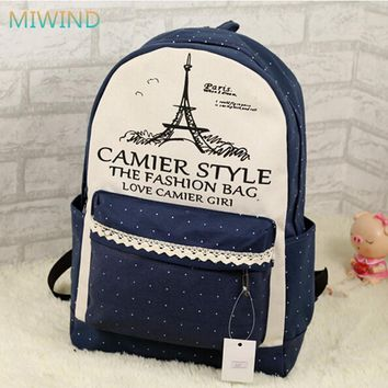 Lace Tower 2016 New Design Canvas Women Backpack College Student School Bags For Girls Leisure Backpack Mochila Escolar CB096