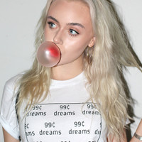 99¢ Dreams White Graphic Unisex Tee