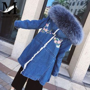 Real Fur Denim Jacket Women Winter Warm Outerwear Female Denim Coat Jeans Long Parka Embroidered Ladies Real Fur Parka