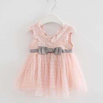 Retail-2017 summer newborn V-neck bow lace princess infant dress baby girls dress Honey Baby clothes ball gown 3 color
