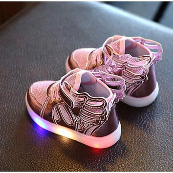 New Girls Luminous LED Light Shoes Angel Wings Baby Boys Casual Led Shoes Children Sneakers
