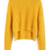 Yellow Crew Neck Dip Hem Crop Sweater