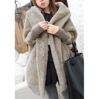 Casual Hooded Neck Solid Color Batwing Sleeves Loose-Fitting Cashmere Coat For Women