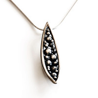 Handmade Sterling Silver Pod Pendant with FREE SHIPPING , seed pod pendant with dark patina , silver marquee necklace art jewelry
