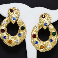 Retro Jewel Tone Door Knocker Earrings, Clip on Round Gold Tone Hoops, Red, Green, Blue Glass Cabs, Large Vintage 1980s Runway Statement