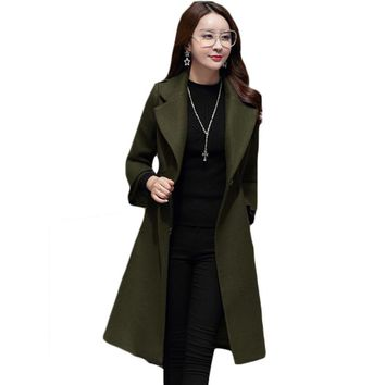 2017 Autumn Winter New Arrival Wool Blends Medium Long Women Three Quarter Flare Sleeve Outerwear Winter Trench Coat female H604