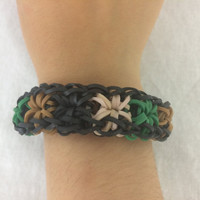 Starburst Military Army Fatigue Camouflage Bracelet Rainbow Loom Handmade Rubber Band Starburst
