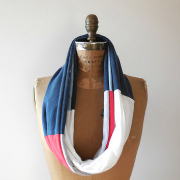 Boston Red Sox T Shirt Infinity Scarf / Red / White / Blue / Gift For Her / Recycled / Upcycled / Cotton / Soft / Fashion / Spring / ohzie