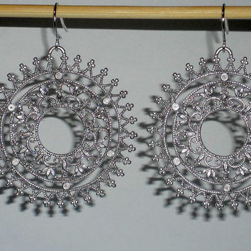 Round filigree earrings dangle hoops silver hoop earrings circle earrings silver hoops silver ring earrings under 20 round dangle earrings