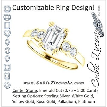 Cubic Zirconia Engagement Ring- The Yucsin (Customizable Emerald Cut Five-stone Design with Round Bezel Accents)