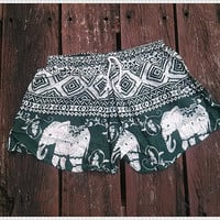 Green Shorts Elephant Printed Rayon Boho Hobo Beach Hippie Hipster Clothing Aztec Ethnic Bohemian Ikat Tank Handmade Colorful Unique Bikini