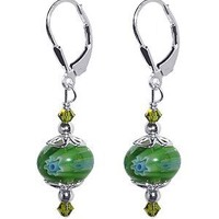 SCER055 925 Sterling Silver Glass Bead Drop Handmade Earrings Made with Swarovski Crystal Elements