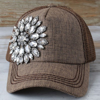 Olive and Pique Brown Bling Cap - Ball Caps - Hats - Women's