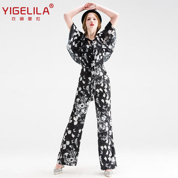 YIGELILA Brand 5282 Latest Autumn New Women Fashion V-neck Full Length Print Jumpsuit