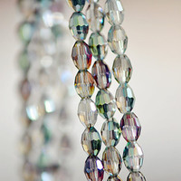 Faceted Oval Glass Beads   Sparkle Green 30110/ by SomeSupplies