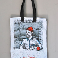 etsy fashion sales The life aquatic with Steve Zissou Bill Murray Tote Bag