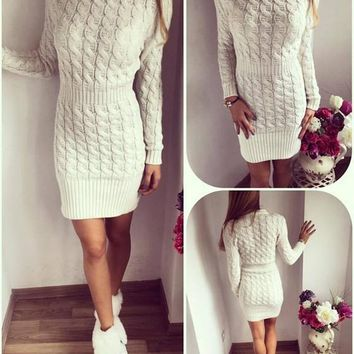 New Women White Solid Round Neck Long Sleeve Casual Stretchy Knitted Sweater Mini Dress