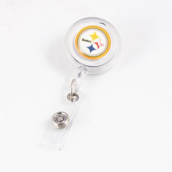 Hot USA Football Fan Jewelry Pittsburgh Steelers Keychain Retractable ID Card Badge Holder Recoil Reels  With Turnable Clip