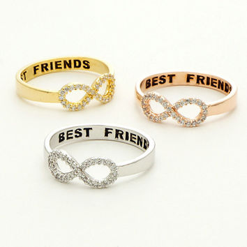 2016 Hot Sell Best Friend Ring Real Gold Plated Crystal 8 Infinite Midi Rings for Women And Men Jewelry