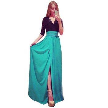 Summer Dress Plus Size Clothing Maxi Dress Long New 2015 Summer Style Side Split Dresses Spliced Bandage Vestidos Dresses C170