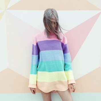 Women Pullover Urtleneck Rainbow Sweater Maccaron Color Stripes Loose Sweater Tumblr Female 2018 Spring Autumn New Fashion