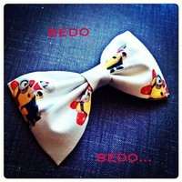 Despicable Me BEDO Minion print handmade fabric bow tie or hair bow from Bowlicious Divas Bowtique