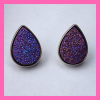 Purple Faux Druzy Post Earrings / Geode / Crystal / Stone / Stud Earrings / tear drop