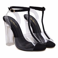 T-Strap clear heels