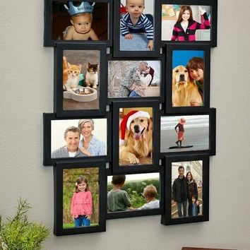 """Collage Frame Photo 12-4""""x 6"""" Pics Hangs Vertical or Horizontal 23"""" x 17.75"""""""