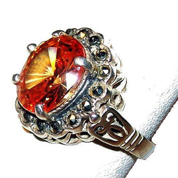 Amber Topaz Marcasite Ring 925 Sterling Silver Cocktail Ring Sz 7 1/2 Vintage