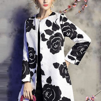 White Floral Print Long Sleeve Coat