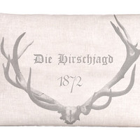 Natural Linen Grain Sack Style Pillow With Antlers