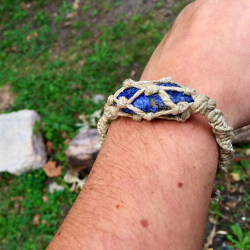Sodalite hemp bracelet, gemstone, hemp jewelry