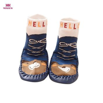 Lovely Cute Cartoon Kids Toddler Baby Boys Girls Anti-slip Sock Shoes Boots Fashion Warm Floor Slipper Socks 2017 New Arrival