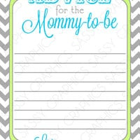 Instant Download Baby Shower Advice Card - Chevron, Green, Blue, Gray, Printable, Digital
