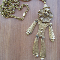 Clown pendant necklace, 1970 movable clown, collect clown jewelry