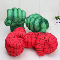 13'' Incredible Hulk Smash Hands or Spider Man Plush Gloves Performing Props Toys Set of 2pcs
