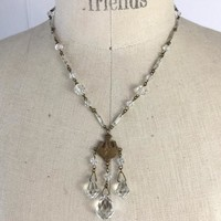 Art Deco Czech Brass and Glass Lavaliere Necklace, Briolette Cut Faceted Crystal, 1920's Bohemian Lavalier Necklace , Wedding Bridal Jewelry