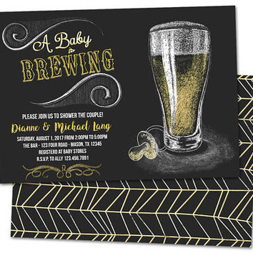 Baby Brewing Shower Invitation - Baby Is Brewing Invitations - Chalk Beer Baby Shower Invite - Couples Shower - BBQ Shower Invite Boy Girl