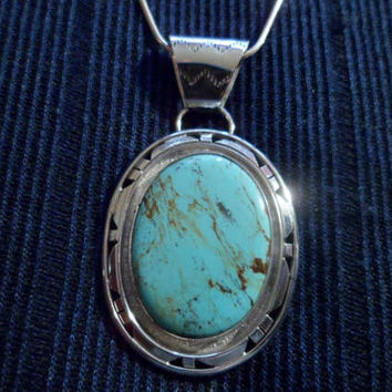 Authentic Navajo,Native American Southwestern sterling silver,turquoise double shadow box pendant/necklace.