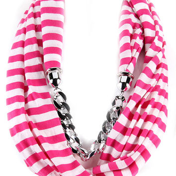 Lucite Curved Silver Chain Striped Scarf